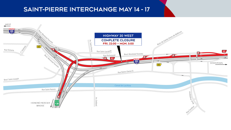 Saint-PIerre Interchange closures from May 14 to 17, 2021.