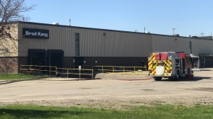 Fire crews on scene at the Broil King manufacturing plant in Waterloo. (Dan Lauckner/CTV Kitchener) (May 14, 2021)