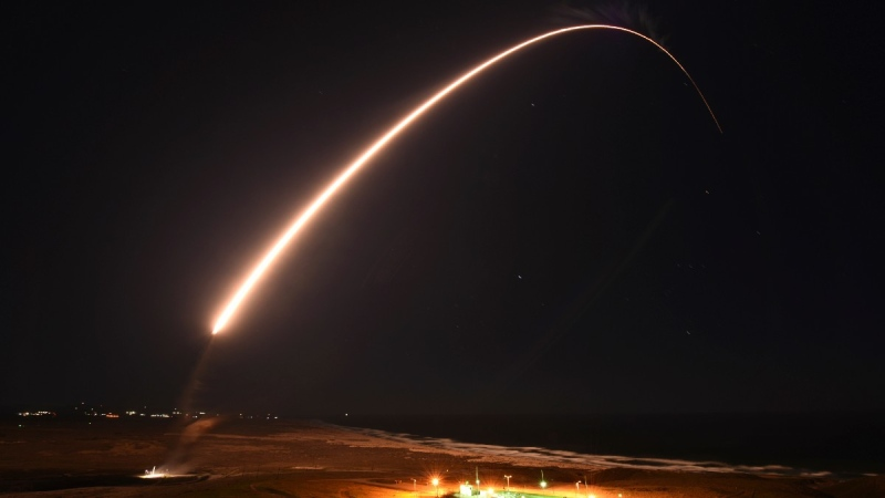 An unarmed Minuteman 3 intercontinental ballistic missile launches during an operation test at Vandenberg Air Force Base, Calif., on Feb. 23, 2021. (Brittany E. N. Murphy / U.S. Army Space and Missile Defense Command via AP)