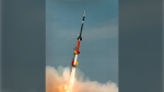A four-stage Black Brant XII sounding rocket is seen in this photo. (NASA)