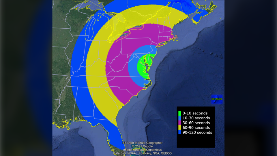 The visibility map shows where the vapour clouds will be visible and for how long after the rocket is launched. (U.S. Dept. of State Geographer / Google)