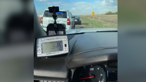 Corman Park police and Saskatchewan Highway Patrol say they caught a vehicle speeding 186 km/hr in a 90 km/hr zone on Dalmeny Road. (Facebook)