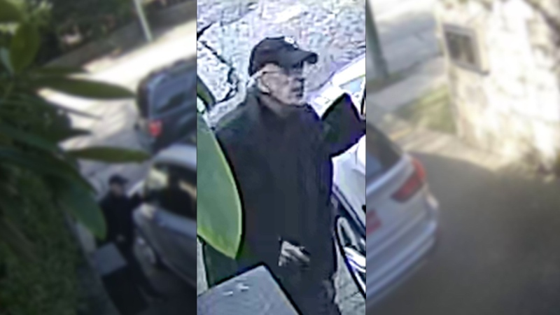 A suspect in an incident at the Chinese consulate in Vancouver is seen in surveillance camera video on March 22, 2021.