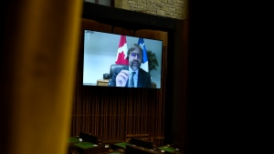 Minister of Canadian Heritage Steven Guilbeault is seen via videoconference as he rises during Question Period in the House of Commons on Parliament Hill in Ottawa on Monday, May 3, 2021. THE CANADIAN PRESS/Justin Tang
