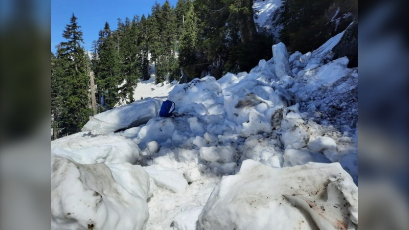 A picture of a small mountain avalanche posted by North Shore Rescue on May 10.