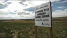 A sign was posted at the site, just south of the dog park, on Monday naming it as the 'Future home of the Lethbridge West Lions Club Disk Golf Course'.