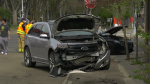 Fire crews attend to a Friday afternoon crash north of Whyte Avenue (CTV News Edmonton/Galen McDougall).