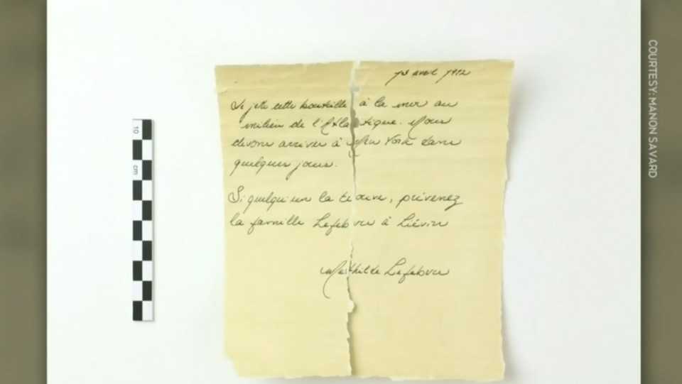 A family in New Brunswick found a still-sealed bottle with this message inside -- a letter dated April 13, 1912 -- and apparently signed by Mathilde Lefebvre, who was a passenger on the Titanic.
