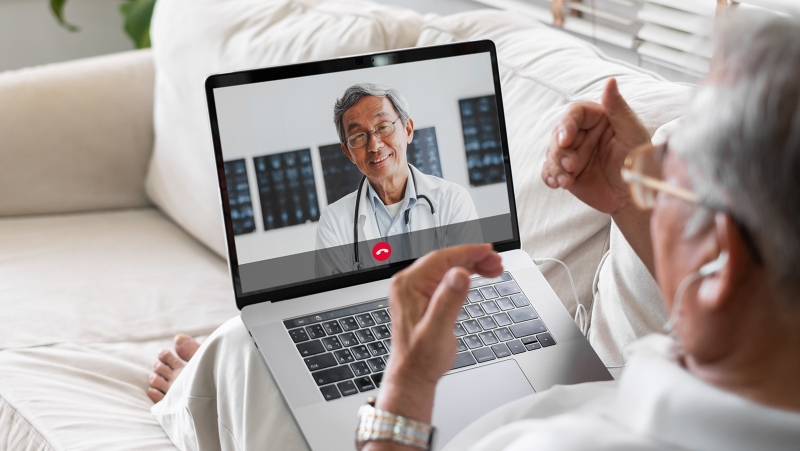 Talking on Zoom could help older people stave off dementia, a new U.K. study says. The study involved more than 11,000 older adults. (Shutterstock/CNN)