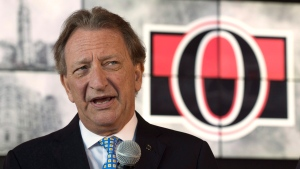 Ottawa Senators owner Eugene Melnyk speaks with the media Thursday September 7, 2017 in Ottawa. THE CANADIAN PRESS/Adrian Wyld