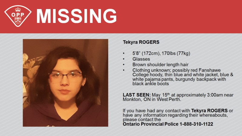 Perth OPP are looking for 17-year-old Tekyra Rogers last seen in West Perth, Monkton. (courtesy OPP)