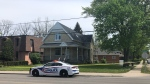 Residence at the corner of Richmond Street and Epworth avenue taped off by police investigating stabbing incident in London, Ont. on Saturday, May 15, 2021. (Jordyn Read/CTV London)