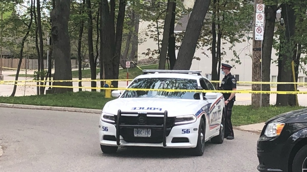 Police on scene of a stabbing incident in the area of University University Crescent and Patricia Street in London, Ont. on Saturday, May 15, 2021. (Jordyn Read/CTV London)