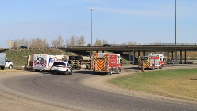 Saskatoon Police Service are responding to a semi rollover at the cloverleaf on Highway 11 and Circle Dr. at the south end of the city. (Submitted by Mike Berko)