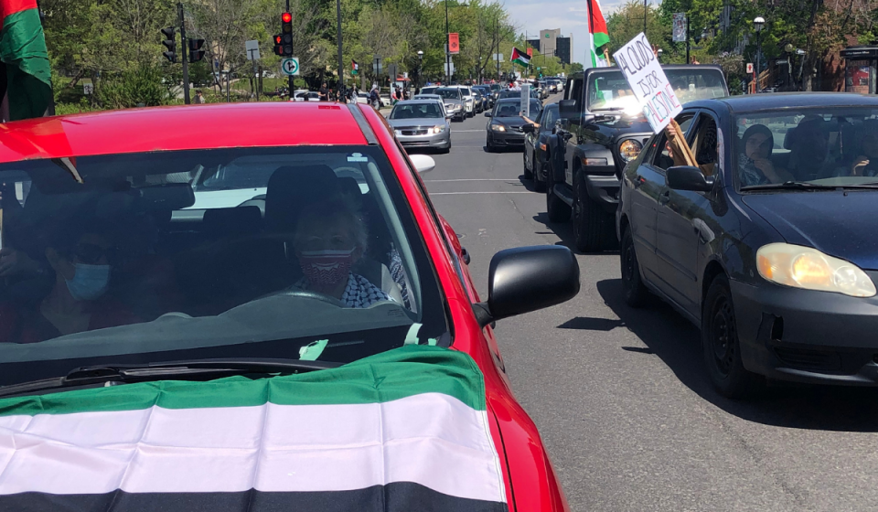 Car rally in support of the Palestinians