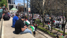 Protesters gather in front of Israel's Consul General in Westmount on May 15, 2021 to protest the Israeli government's ongoing conflict with Hamas. (Billy Shields/CTV News)