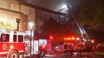 A fire broke out on Firday night at a 56-unit apartment building on 84th Avenue in Surrey, B.C.