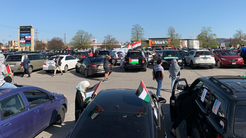 Hundreds of vehicles gathered at malls in London, Ont. to protest attacks against  Israel's attacks on Palestinians on Friday, May 14, 2021. (Bryan Bicknell/CTV London)