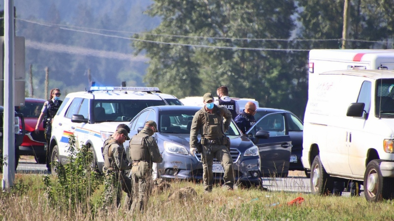 Police investigate after a man was found injured on the 4900 block of 148 Street in Surrey B.C. on Saturday morning, May 15, 2021.