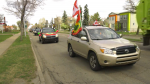 Members of the Oromo community of Edmonton participated in a caravan protest across the city on Saturday (CTV News Edmonton/Galen McDougall)