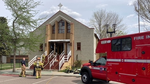 Fire crews put out a fire at a church in the Alberta Avenue area of Edmonton Saturday afternoon (CTV News Edmonton/Dave Mitchell)
