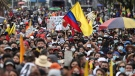 People gather in an anti-government protest in Bogota, Colombia, Saturday, May 15, 2021. (AP Photo/Fernando Vergara)