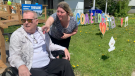 Family and friends held a drive-by parade to welcome Gatineau's Peter Simard home after nearly nine months in hospital with COVID-19. (Jackie Perez/CTV News Ottawa)