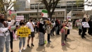 """Attendees at the rally could be heard yelling """"free, free Palestine"""" and """"hey hey, hey hey, the occupation has to go."""" (Tyler Barrow/CTV News)"""