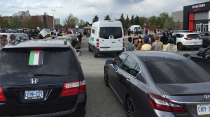 A car rally at Conestoga Mall to protest against the Israeli-Palestine violence. (Johnny Mazza/CTV Kitchener) (May 15, 2021)