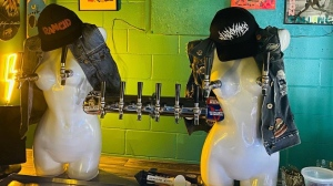 The beer taps at The Small Axe Roadhouse in Enderby, B.C. are seen in a photo posted to the bar's Facebook page. (Facebook/The Small Axe Roadhouse)