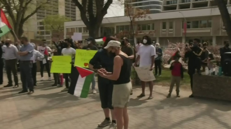 People head to city hall to support Palestine