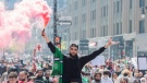 People in Montreal attend a demonstration on Saturday, May 15, 2021, to denounce Israel's military actions in the Palestinian territories. THE CANADIAN PRESS/Graham Hughes