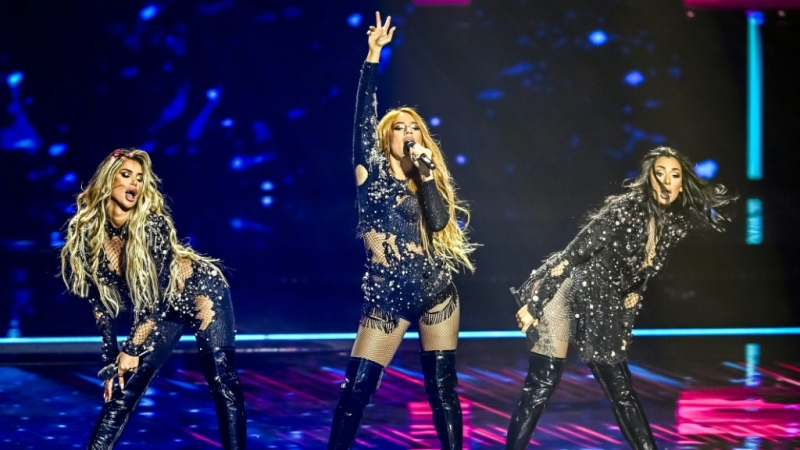 Hurricane from Serbia performs during a rehearsal of the second semifinal of the Eurovision Song Contest in Rotterdam. (AFP)