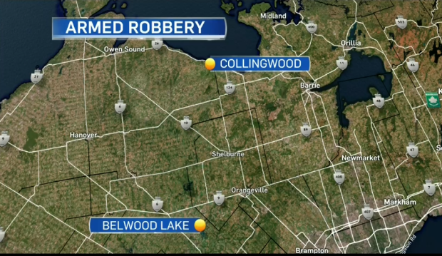 Multiple people have been taken into custody following an armed robbery near Belwood Lake.