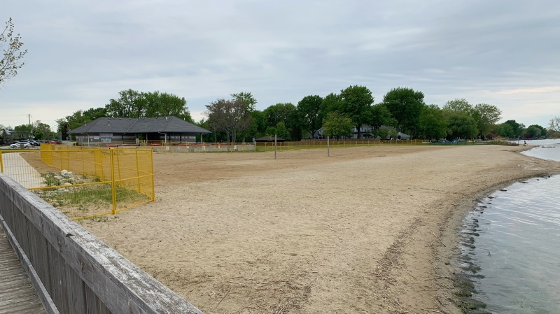 The Municipality of Lakeshore closed West Beach due to an influx of groups in Belle River, Ont. on Sunday, May 16, 2021. (Chris Campbell/CTV Windsor)