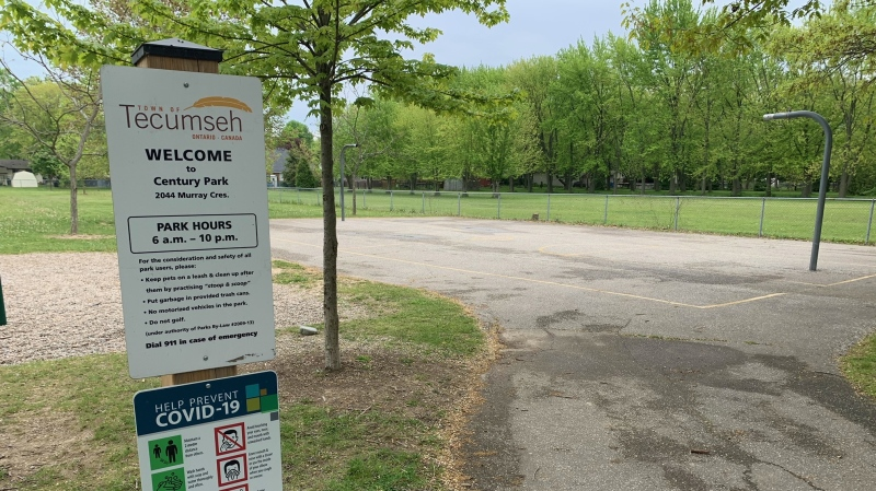 The Town of Tecumseh has taken down the basketball nets at Century Park citing continued noncompliance with provincial orders in Tecumseh, Ont. on Sunday, May 16, 2021. (Chris Campbell/CTV Windsor)