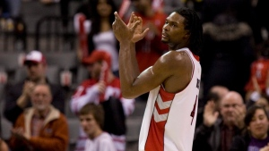 Toronto Raptors' Chris Bosh reacts at the final buzzer as his team beats the Philadelphia 76ers 104-93 in NBA action in Toronto on Wednesday February 10, 2010. (THE CANADIAN PRESS / Chris Young)