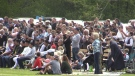 Hundreds gathered for an outdoor service at the Church of God in Aylmer, Ont. on Sunday, May 16, 2021. (Brent Lale/CTV London)
