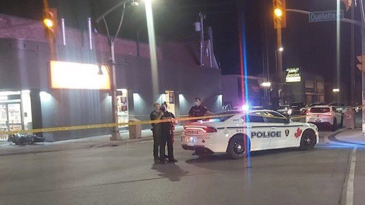 Windsor police on scene of a motor vehicle collision involving a motorcycle in Windsor, Ont. on Saturday, May 15, 2021. (courtesy OnLocation/Twitter)
