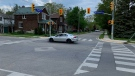 The intersection of Woolwich Street and Powell Street in Guelph. (Krista Sharpe/CTV Kitchener) (May 16, 2021)