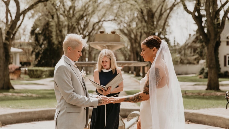 Jen and Shawnee Kish were married by Rachel Notley Saturday at an intimate outdoor ceremony (Supplied/@ghphotoyeg)