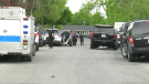 Ottawa police on Hochelaga Street in Ottawa's east end on Sunday, May 16. (Shaun Vardon/CTV News Ottawa)