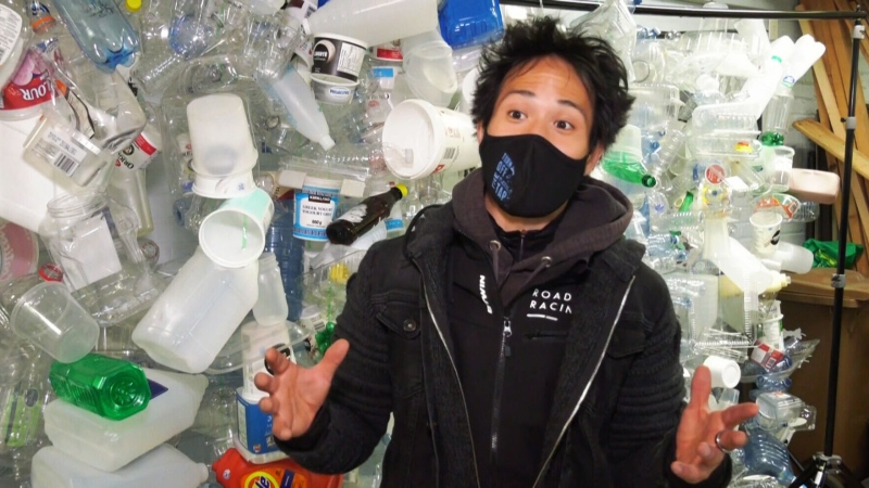 Artist Benjamin Von Wong explains his newest art project: a giant levitating faucet, spewing plastic pollution.