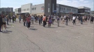 Hundreds line up at a vaccination clinic in East York.