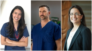 Pictured from left to right, study co-author Dr. Donna May Kimmaliardjuk, lead researcher Dr. Jason McVicar, and study co-author Dr. Nadine Caron. (Courtesy of Dr. Kimmaliardjuk, Peter Duffy, UBC)