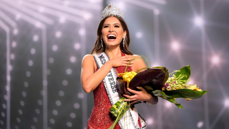Miss Universe Mexico 2020 Andrea Meza at the Seminole Hard Rock Hotel & Casino in Hollywood, Fla. on May 16, 2021. (Benjamin Askinas / Miss Universe via AP)