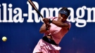 Serena Williams of the United States returns the ball to Italy's Lisa Pigato during their match at the Emilia Romagna Open tennis tournament, in Parma, Italy, Monday, May 17, 2021. Serena Williams earned her first victory in more than three months by beating 17-year-old qualifier Lisa Pigato 6-3, 6-2 in the first round of the Emilia-Romagna Open. Williams accepted a wild-card invitation for the Parma tournament after losing her opening match at the Italian Open last week. (AP Photo/Marco Vasini)