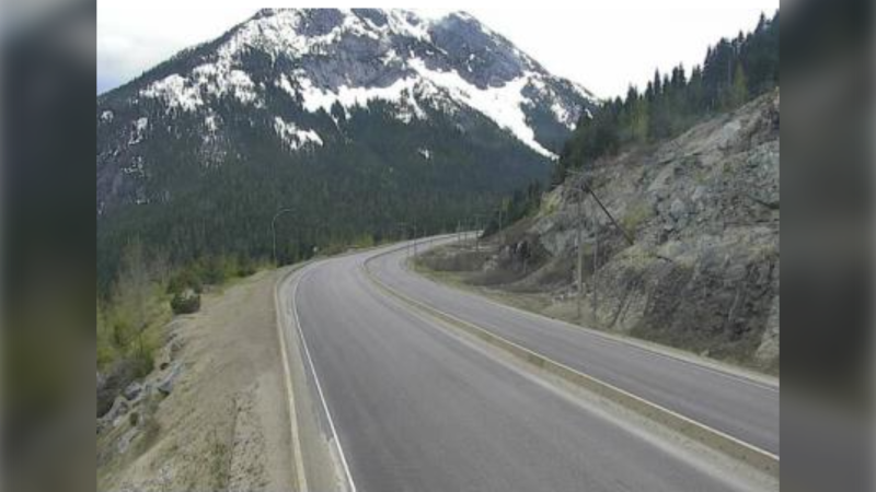 Coquihalla Highway about seven kilometres north of Zopkios brake check in the morning of May 17, 2021.