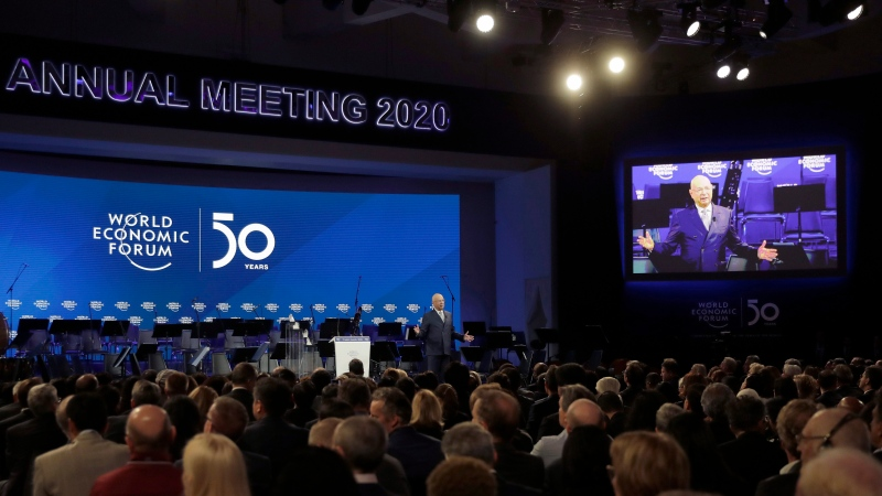Klaus Schwab, founder of the World Economic Forum, delivers a welcome message on the eve of the annual meeting of the World Forum in Davos, Switzerland, in this Jan. 20, 2020 file photo. (AP Photo/Markus Schreiber)