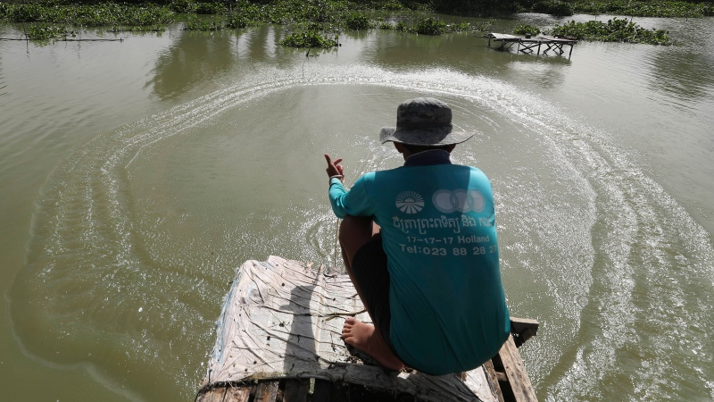 A fisherman casts his net into the Boeung Thom lake on the outskirts of Phnom Penh, Cambodia, Tuesday, Aug. 11, 2020. (AP Photo/Heng Sinith)